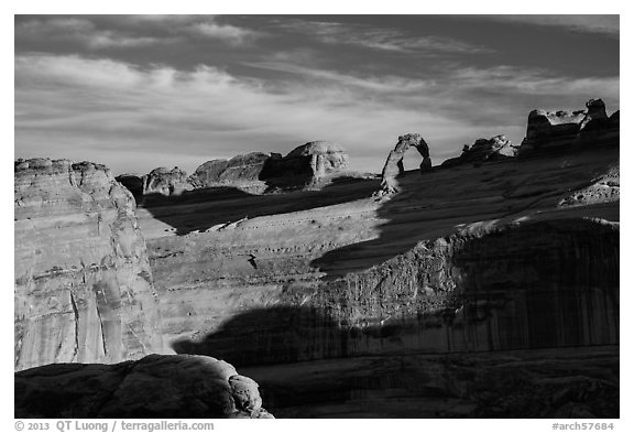 Delicate Arch and Winter Camp Wash Amphitheater. Arches National Park (black and white)