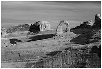 Delicate Arch and Frame Arch, early morning. Arches National Park, Utah, USA. (black and white)