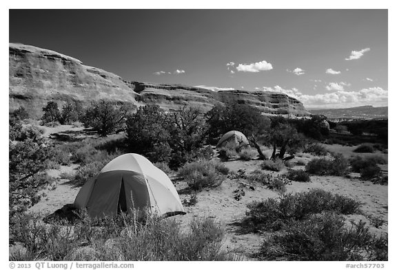 Tent camping. Arches National Park (black and white)
