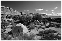 Tent camping. Arches National Park, Utah, USA. (black and white)