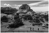 People walking in Devils Garden  Campground. Arches National Park, Utah, USA. (black and white)