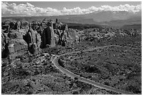 Scenic road and Fiery Furnace fins. Arches National Park, Utah, USA. (black and white)