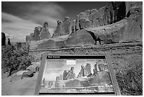 Intepretative sign, Park Avenue. Arches National Park, Utah, USA. (black and white)