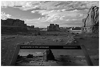 Intepretative sign, Courthouse towers. Arches National Park, Utah, USA. (black and white)