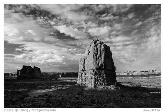 Tower, late afternoon. Arches National Park (black and white)