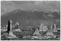 Fins and La Sal mountains. Arches National Park, Utah, USA. (black and white)