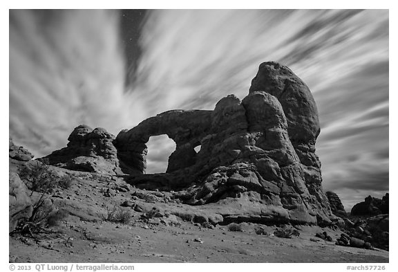 Turret Arch at night, lit by moon. Arches National Park (black and white)