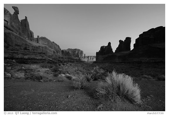 Park Avenue at dawn. Arches National Park (black and white)