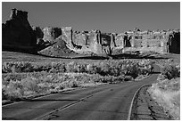 Road, Courthouse wash and Courthouse towers. Arches National Park ( black and white)