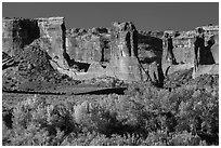 Courthouse wash and Courthouse towers in autumn. Arches National Park, Utah, USA. (black and white)