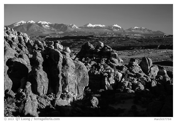 Fiery Furnace and La Sal Mountains. Arches National Park (black and white)