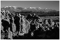 Fiery Furnace and La Sal Mountains. Arches National Park, Utah, USA. (black and white)