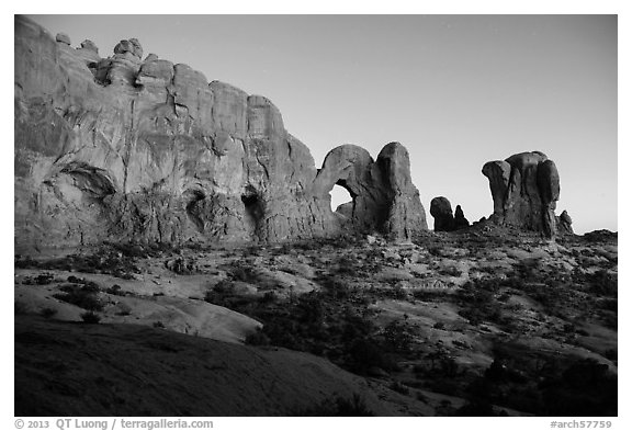 Cove of Arches, Double Arch, and Parade of Elephants at dusk. Arches National Park (black and white)