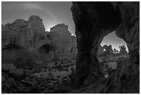 Cove of Arches and Cove Arch at night. Arches National Park, Utah, USA. (black and white)