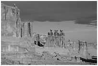 Three Gossips and Courthouse towers, early morning. Arches National Park, Utah, USA. (black and white)
