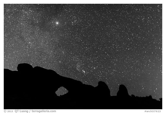North Window under starry sky at night. Arches National Park (black and white)