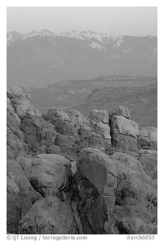Fiery Furnace and La Sal Mountains at sunset. Arches National Park (black and white)