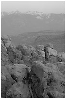 Fiery Furnace and La Sal Mountains at sunset. Arches National Park, Utah, USA. (black and white)