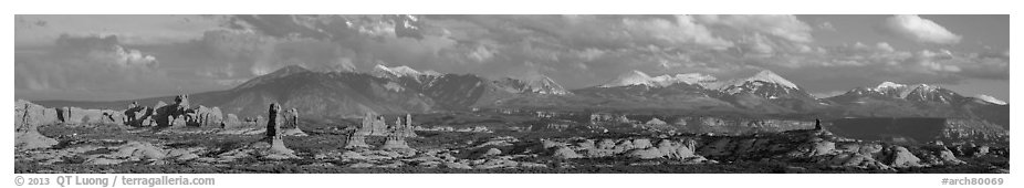 Windows, fins, and La Sal Mountains. Arches National Park (black and white)