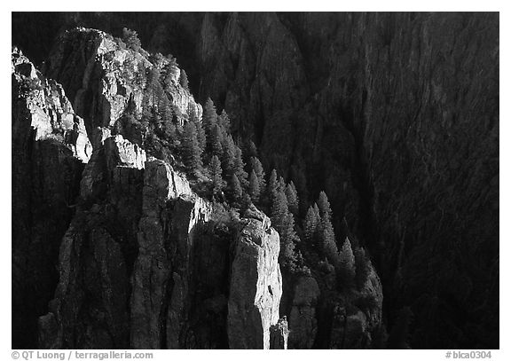 island peaks at sunset, North rim. Black Canyon of the Gunnison National Park (black and white)