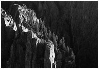 island peaks at sunset, North rim. Black Canyon of the Gunnison National Park, Colorado, USA. (black and white)
