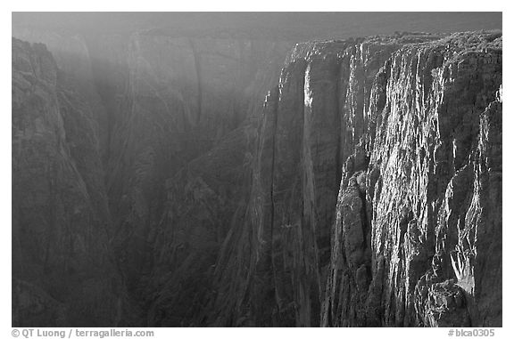 Narrows at sunset, North rim. Black Canyon of the Gunnison National Park (black and white)