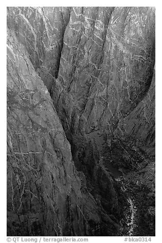 Depths of the canyon from Chasm view, North rim. Black Canyon of the Gunnison National Park (black and white)