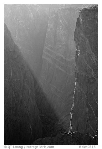 Narrows in late afternoon. Black Canyon of the Gunnison National Park (black and white)