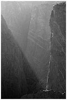Narrows in late afternoon. Black Canyon of the Gunnison National Park, Colorado, USA. (black and white)