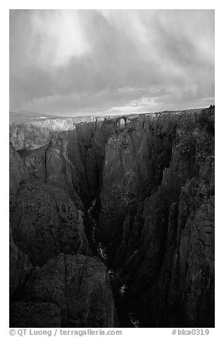 Narrows seen from Chasm view at sunset, North rim. Black Canyon of the Gunnison National Park (black and white)
