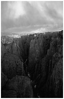 Narrows seen from Chasm view at sunset, North rim. Black Canyon of the Gunnison National Park ( black and white)