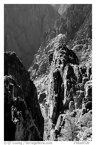 Pinnacles and spires, Island peaks view, North rim. Black Canyon of the Gunnison National Park (black and white)