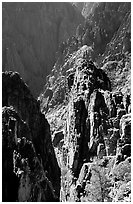 Pinnacles and spires, Island peaks view, North rim. Black Canyon of the Gunnison National Park, Colorado, USA. (black and white)