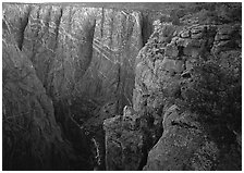 painted wall from Chasm view, North rim. Black Canyon of the Gunnison National Park, Colorado, USA. (black and white)