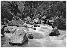 Boulders and rapids of the Gunisson River. Black Canyon of the Gunnison National Park ( black and white)