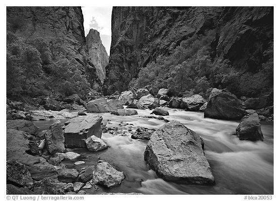 Gunisson river near  Narrows. Black Canyon of the Gunnison National Park (black and white)