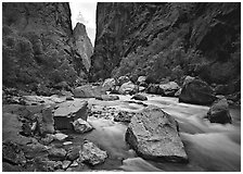 Gunisson river near  Narrows. Black Canyon of the Gunnison National Park, Colorado, USA. (black and white)