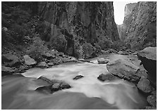 Gunisson River flowing beneath steep canyon walls. Black Canyon of the Gunnison National Park ( black and white)