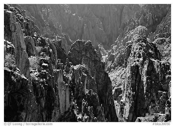 Spires and canyon walls. Black Canyon of the Gunnison National Park (black and white)