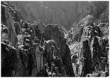 Spires and canyon walls. Black Canyon of the Gunnison National Park, Colorado, USA. (black and white)