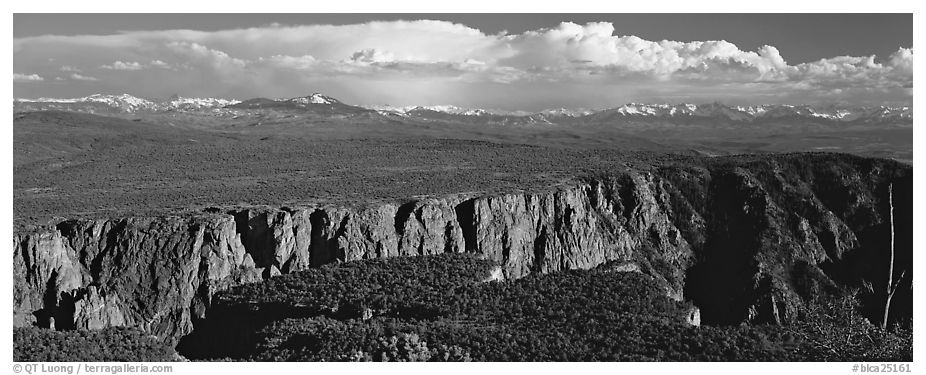 Plateau cut by deep canyon. Black Canyon of the Gunnison National Park (black and white)