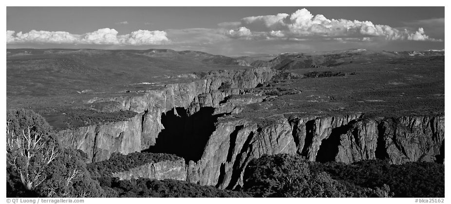 Black Canyon seen from a distance. Black Canyon of the Gunnison National Park (black and white)