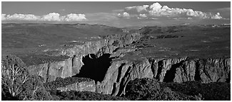 Black Canyon seen from a distance. Black Canyon of the Gunnison National Park (Panoramic black and white)