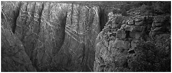 Canyon walls with crystaline striations. Black Canyon of the Gunnison National Park (Panoramic black and white)