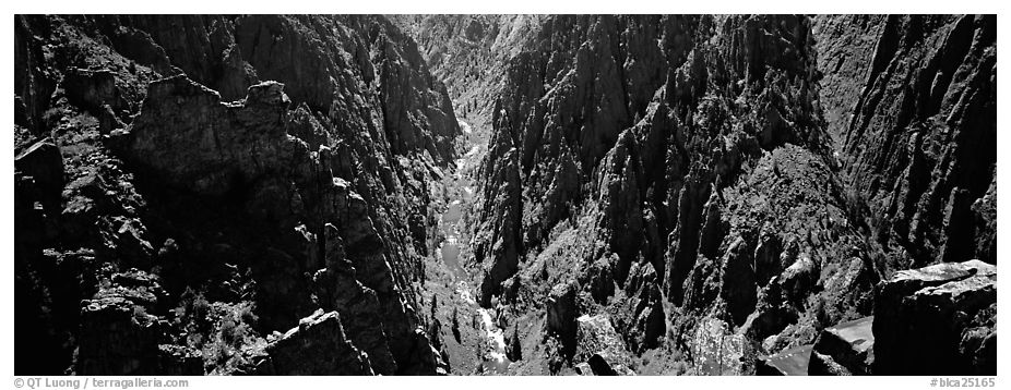 Gunnisson River running deep in narrow gorge. Black Canyon of the Gunnison National Park (black and white)