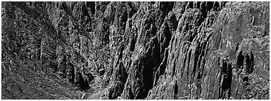 Spires and vertical rock walls. Black Canyon of the Gunnison National Park (Panoramic black and white)