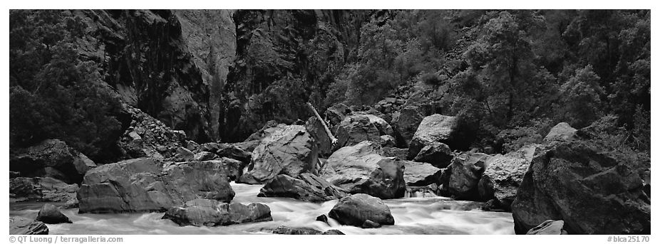 Gunnisson River and boulders in gorge. Black Canyon of the Gunnison National Park (black and white)