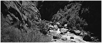 Gorge bottom and Gunnisson River. Black Canyon of the Gunnison National Park (Panoramic black and white)