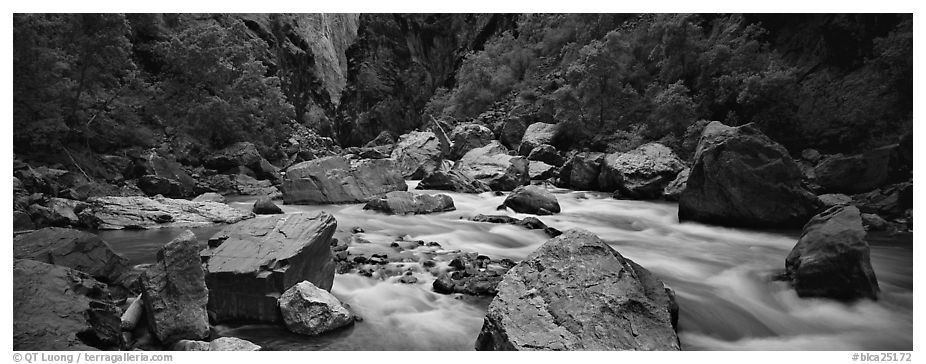 River Rapids in canyon narrows. Black Canyon of the Gunnison National Park (black and white)