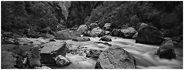 River Rapids in canyon narrows. Black Canyon of the Gunnison National Park (Panoramic black and white)